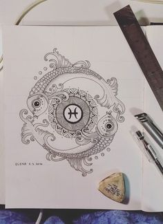 Pisces Mandala Design- Dotwork by elenoosh