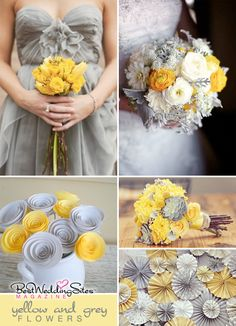 yellow   grey. I love yellow and gray together for wedding colors with maybe just a few accents here and there of a bright color.