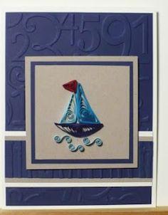 Своими руками, квиллинг кораблик открытка