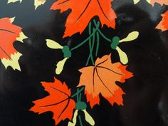 Tray tin lithograph with wreath and sprigs of Autumn maple leaves