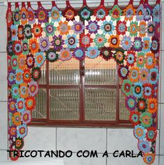CORTINA FLORES   Tricô e Crochê By Carla Pacheco   Elo7