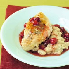 Herbs give the sauce a savory flavor, a nice complement to the tartness of the berries.