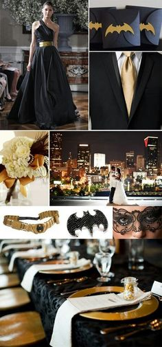 Not my style at all, but couldn't NOT pin some of these awesome Batman wedding ideas!  Love the invite envelopes.