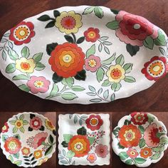 Somebody found her favorite pattern! Cant wait to make a bomb vase to add to this collection Clay Plates, Ceramic Plates, Plates On Wall, Ceramic Pottery, Pottery Art, Pottery Painting, Ceramic Painting, Fabric Painting, Ceramic Art
