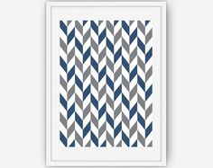 Navy Chevron Wall Art Navy Blue Chevron Chevron by LineLightStore