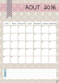 calendrier aout 2016                                                                                                                                                      Plus