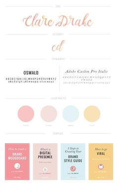 brand style guide for clare drake - includes logo, logo variations, brand colors, brand typography and brand elements via Graphic Design Tips, Graphic Design Inspiration, Color Inspiration, Design Design, Cover Design, Character Inspiration, Logo Design, Logos Photography, Photography Packaging