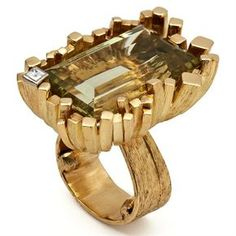 Yellow gold Ring with yellow beryl and diamond by Grima.
