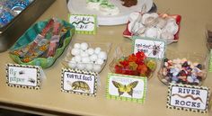 Critter Birthday Party Snack Bar with signs