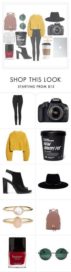 """Try To Be Positive."" by itsjustmenotyou ❤ liked on Polyvore featuring Topshop, Canon, H&M, Michael Kors, Zimmermann, Accessorize, MICHAEL Michael Kors, Butter London and YHF"
