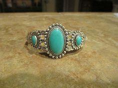 SPLENDID-Old-Fred-Harvey-Era-Navajo-Sterling-Silver-Turquoise-Design-Bracelet