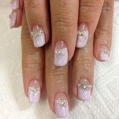 Wedding gel nail designs! Lavender French nails with glitter and aurora Swarovski.