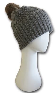 Christina Perriam - Possum Pom Pom Hat Grey