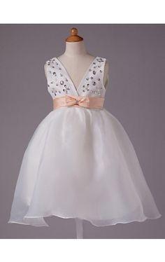 Ball Gown V-neck Knee-length Tulle Over Satin Flower Girl Dress