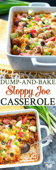 Dump-and-Bake Sloppy Joe Casserole! Easy Dinner Recipes | Sloppy Joe Recipes | Dinner Ideas | Casserole Recipes | Pasta Recipes | Meatball Recipes