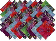 "BATIK VARIETY #3 COLLECTION 40 Precut 5"" QUILTING FABRIC SQUARES"