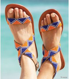 Travel in Style with Aspiga's Handmade leather sandals and luxury beachwear. Beaded Shoes, Beaded Sandals, Strappy Sandals, Leather Sandals, Indian Shoes, Bohemian Sandals, African Accessories, Only Shoes, Cute Sandals