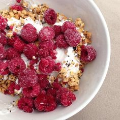 Greek Yogurt + Wild Blueberry Chia Granola Clusters + frozen raspberries = a berry yummy breakfast