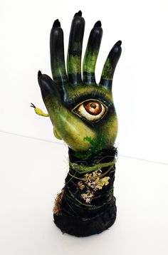 Swamp Witch - acrylic and mixed media on ceramic hand ring holder