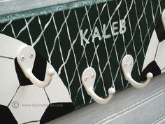 Soccer Player Sport Hanger  Kids Room Wall by sportyracks on Etsy, $36.00