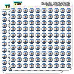 Argentina Flag Soccer Ball Futbol Football 200 1/2 inch (0.5 inch) Planner Calendar Scrapbooking Crafting Stickers, Clear