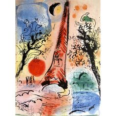 Marc Chagall. Vision de Paris. 1960. Lithograph from a book. 12,6 x 9,4 in. Photo: © www.icollector.com