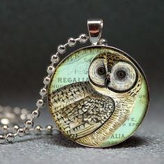 SALE Vintage Owl Collage Domed Resin Pendant C18611M by artyscapes, $8.50