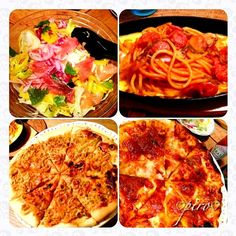 今夜はピザ クララちゃんの葱ピザとマルゲリータピザの2種類  名古屋名物鉄板ナポリタンスパゲティ  生ハムのサラダです  熱々を食べたので、4分割写真にて - 179件のもぐもぐ - マルゲリータピザクララちゃんの葱ピザ鉄板ナポリタン 生ハムサラダ Raw ham and salad. Neapolitan spaghetti griddle. Margherita pizza. Leek pizza. by 0987hiropon