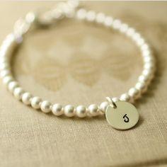 Swarovski Pearl and Sterling Silver Initial Tag by jjensenweddings