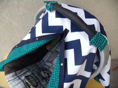 Carseat Canopy Navy Chevron Geometrical by fashionfairytales, $36.99