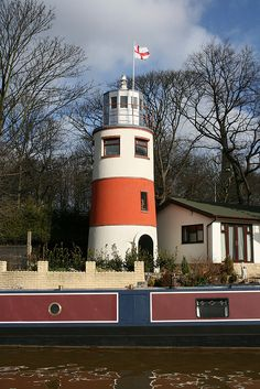 Monton Lighthouse, City of Salford, Greater Manchester, England. 30 miles or more from the coast, the Monton Lighthouse overlooks a quiet corner of the Bridgewater canal in Monton. Bridgewater Canal, Lighthouse Lighting, Lighthouse Keeper, Salford, Beacon Of Light, Narrowboat, Peaceful Places, Safe Harbor, Covered Bridges