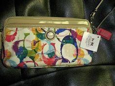 NEW! Coach Poppy Multicolor STAMPED Double Zip Long Wallet Handbag 49200