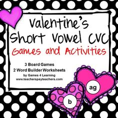 Valentine's Day Short Vowel CVC Games and Activities is from Games 4 Learning. It includes 3 printable Valentine's Day board games and 2 printable Valentine's worksheets. $