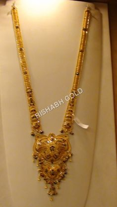 Rani Haar Necklace Gold Temple Jewellery, Gold Wedding Jewelry, Gold Jewellery Design, Designer Jewelry, Gold Mangalsutra Designs, Gold Earrings Designs, Necklace Designs, Most Expensive Jewelry, Gold Jewelry Simple
