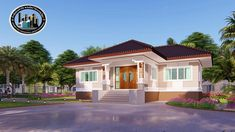 Four-bedroom Bungalow with Well-designed Facade - Ulric Home 4 Bedroom House Plans, My House Plans, Family House Plans, Hip Roof, Flat Roof, Roof Styles, House Styles, House Construction Plan, House Ceiling Design