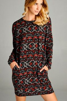 Check out the price on this one! What a deal! Printed, Round Ne... Shop it here now http://www.rkcollections.com/products/printedroundnecklongsleevedress?utm_campaign=social_autopilot&utm_source=pin&utm_medium=pin