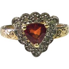 Trillion Cut Spessartite Garnet Ring with 10K Gold and Diamond Accents