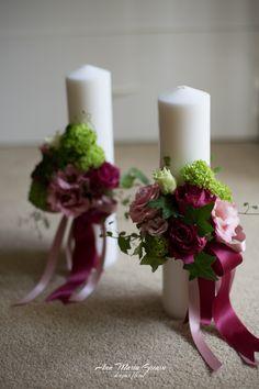 Lumanari scurte de botez, fetita, roz burgundy verde