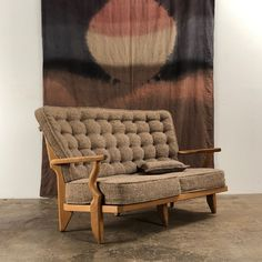 Nice midcentury oak sofa by Guillerme and Chambron Votre maison edition Massive oak original wool fabric in perfect condition HS W D Sofa, Couch, Wool Fabric, French Antiques, Love Seat, Modern Design, Mid Century, Chair, The Originals