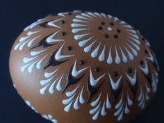 Easter Egg Pysanka Natural Brown Chicken Egg Pysanka by EggstrArt