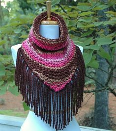Pink Brown Taupe Raspberry Knit Triangle Cowl with by PhylPhil, $39.99