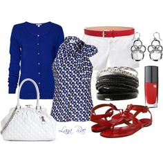 Dressy blue black & red, created by luchenskil on Polyvore