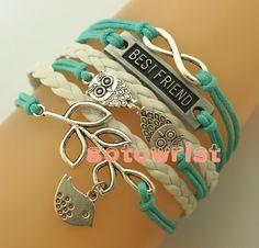"Infinity Bracelet,""Best Friend"" Bracelet,Two Owls Bracelet,Bird Bracelet,Leaf Bracelet,Leather Bracelet,Christmas Gift on Etsy, $5.88"