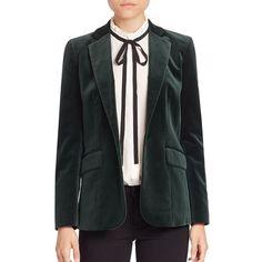 FRAME Velvet Mod Blazer (9.825 RUB) ❤ liked on Polyvore featuring outerwear, jackets, blazers, tailored jacket, blazer jacket, mod jackets, long sleeve blazer and velvet blazer