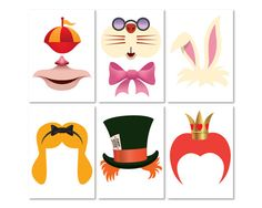 Alice in wonderland party photo booth props set  Printable