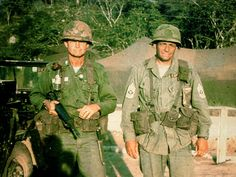 The real Colonel Hal Moore (left) and Sergeant Major Basil Plumley (right) of the 7th Cavalry at the Battle of the Ia Drang Valley.
