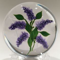 """Signed Paul Stankard Purple Lilacs Floral Lampwork Art-Glass Paperweight approx 3"""" in Diameter & 2"""" High - has hand inscribed signature round the outer circumference 'Paul Stankard' with signature 'P' cane embedded - Paperweight rests on a polished concave base - eBay♥❦♥"""