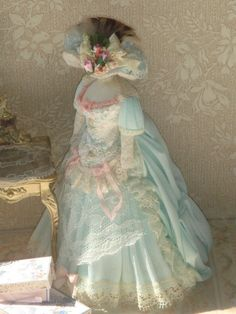 Dollhouse french style dress on mannequin. 1:12 Dollhouse miniature ladies clothing-dresses.