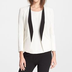 Contrast Lapel Wool Crepe Blazer by Narcisco Rodriguez