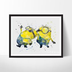 Two Minions Despicable Me Wall Art Ghibli Watercolor Poster Baby Room UNFRAMED - Click photo for details - Home Decor Minions Love, Minions Despicable Me, Funny Minion, Watercolor Disney, Watercolor Artwork, You Draw, Wall Art Prints, Illustration, Lego